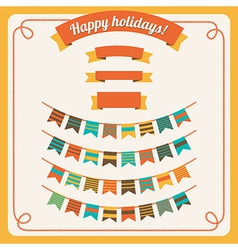 Set of bunting and garland in retro colors with ba vector
