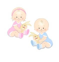 Toddlers with a toy vector