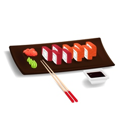 Japanese sushi with chopsticks vector