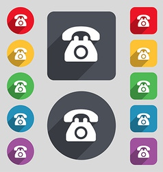 Retro telephone icon sign a set of 12 colored vector