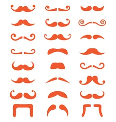 Ginger moustache or mustache icons set vector
