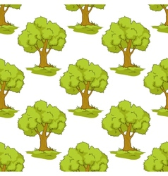 Seamless pattern with cartoon green trees vector