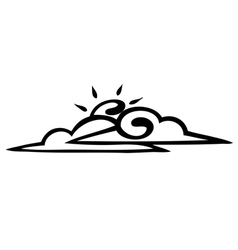Sketch sun and clouds on a white background icon vector