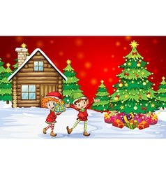 Two playful dwarves near the christmas trees vector