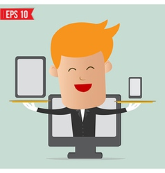 Cartoon business man show responsive web design vector