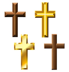 Wood and gold cross set vector