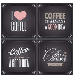 Chalkboard retro style coffee designs collection vector