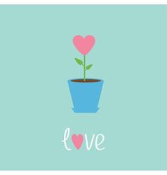 Heart flower in pot love card vector