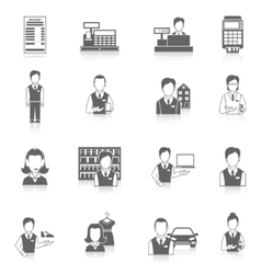 Set icons salesman black vector