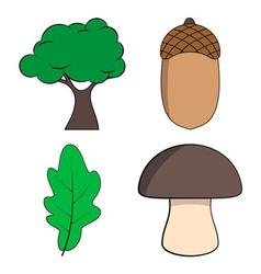 Oak tree oak leaf acorn and mushroom vector