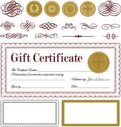 burgundy certificate frame set vector
