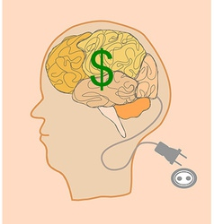 Brain with dollar sign vector