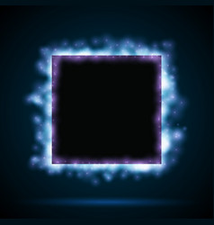Square border with blue lights vector
