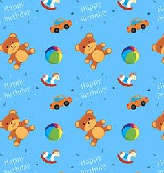 Children toys happy birthday pattern vector