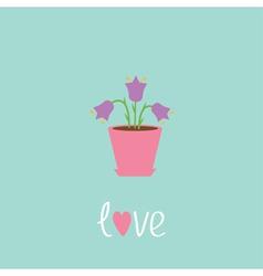 Violet flower in pot love card vector