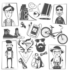 Hipster black icons composition print vector