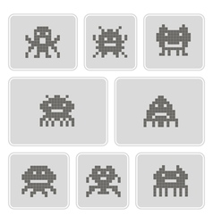 Monochrome icons with pixel alien monsters vector