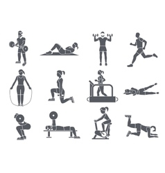 Gym sport exercises icons vector