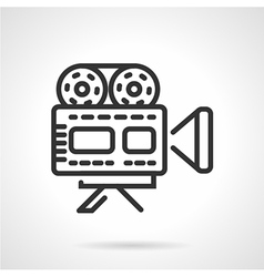 Movie camera black line icon vector