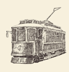 Vintage tram engraved hand drawn vector
