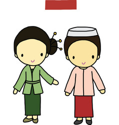 Indonesia traditional costume vector