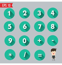 Numbers and mathematical symbols flat and long vector