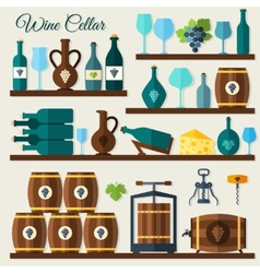 Wine cellar icons vector
