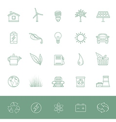Line icons environmental conservation vector