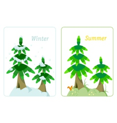 Fir tree in summer and winter vector