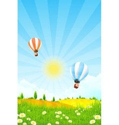 Landscape with trees and hot air balloon vector