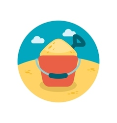 Sand bucket and shovel flat icon with long shadow vector