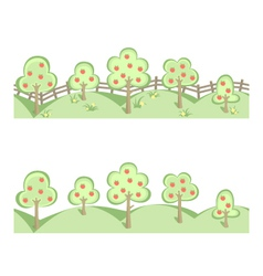 Fruit trees in horizontal seamless border vector