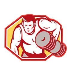 Weightlifter lifting weights retro vector