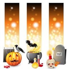 3 halloween banners vector