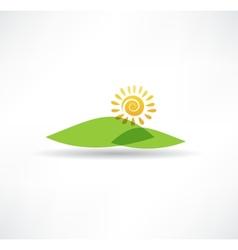 Sun and mountains icon vector