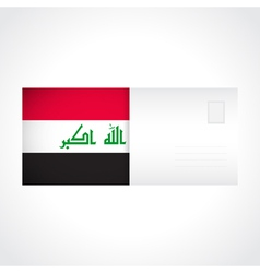 Envelope with iraqi flag card vector