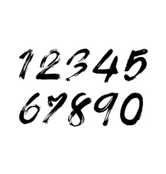 Numbers 0-9 written with a brush vector