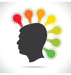 Colorful bulb glow on head of people vector