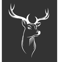 Deer head on black background vector