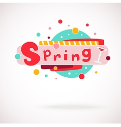 Colorful word spring with glass of vine vector
