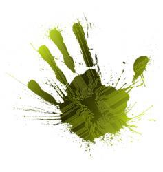 Technological green splatter handprint vector