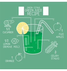 Green citrus juice recipes great detoxifier vector