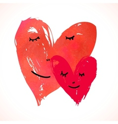 Two watercolor painted hearts with faces vector