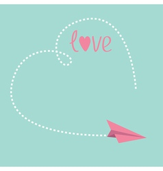 Origami paper plane big dash heart in the sky love vector