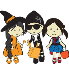 Children on a holiday halloween vector