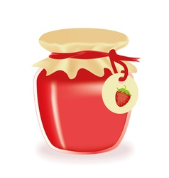 Jar of strawberry jam isolated vector