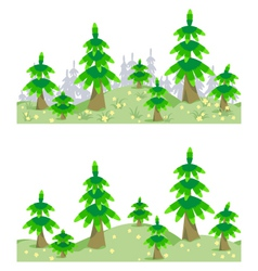 Horizontal seamless border with forest in summer vector
