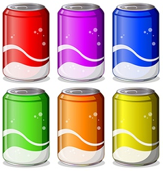 Six colorful soda cans vector