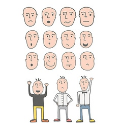 Set of cute hand drawn emotional faces vector