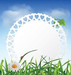 Paper card in the grass against the sky vector
